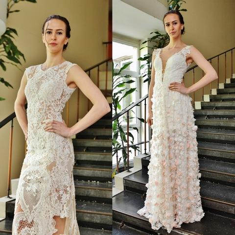 """Боряна Милчева представя модел """"Изидор"""" (вляво) и модел """"Ивиана"""" (вдясно)."""